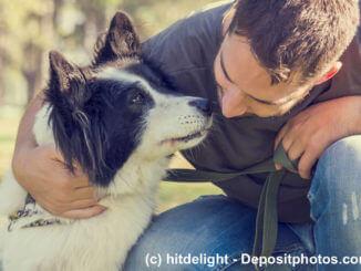 Ein Mann hockt neben seinem Hund und umarmt ihn, dieser schnüffelt an dessen Gesicht
