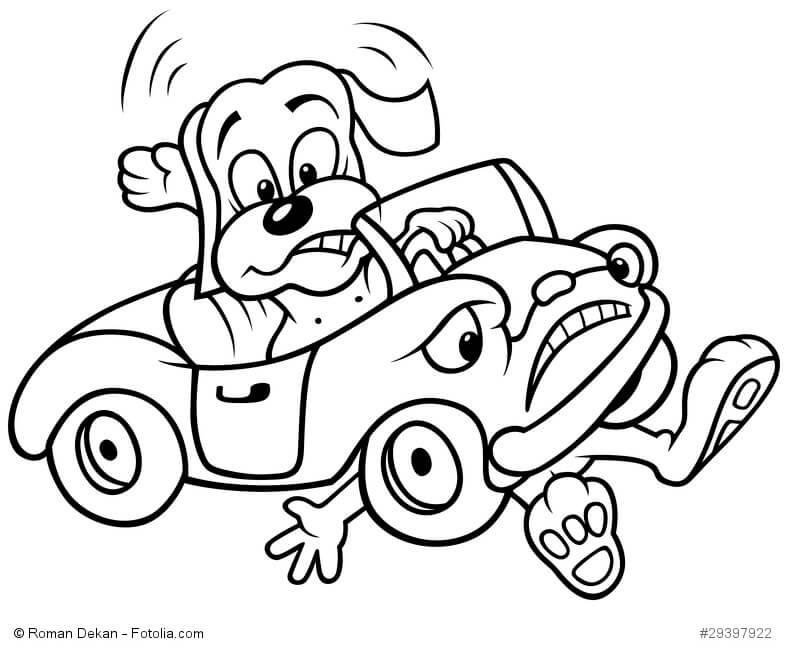 Ein Cartoon mit einem Hund, der ein Auto fährt und einen Menschen überfahren hat
