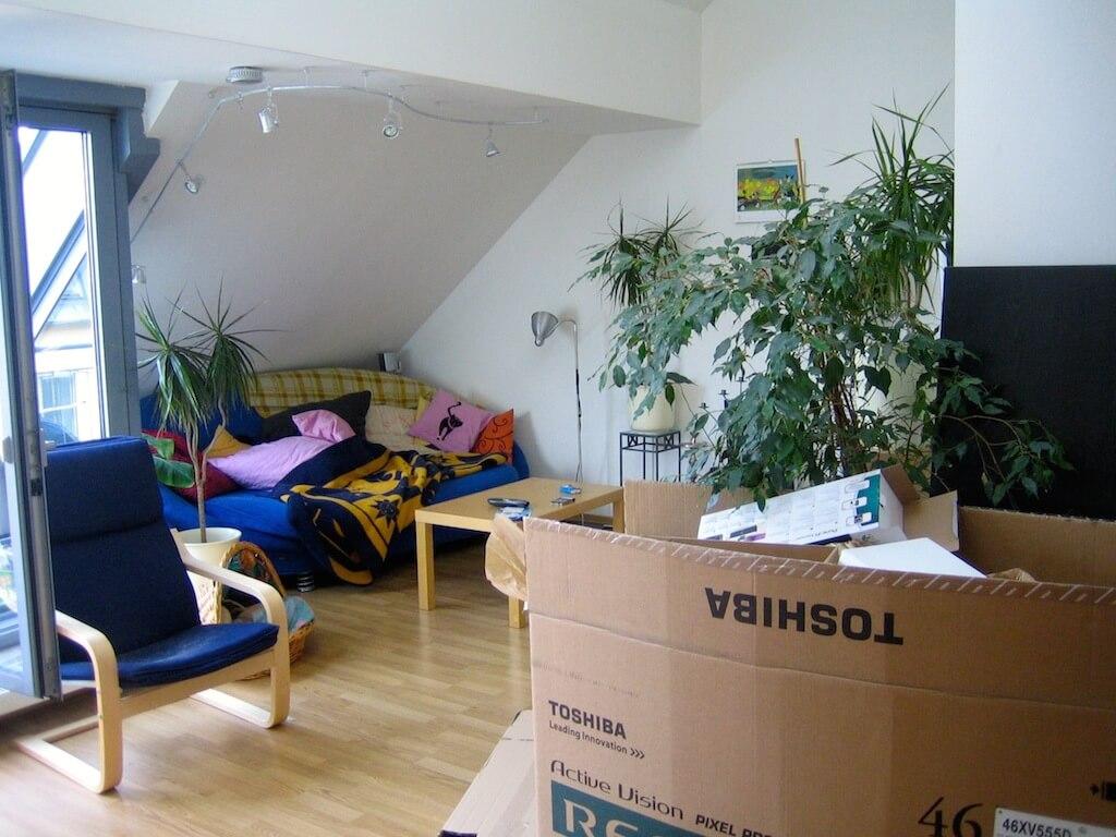 Eine Wohnung im Vordergrund mit Kartons