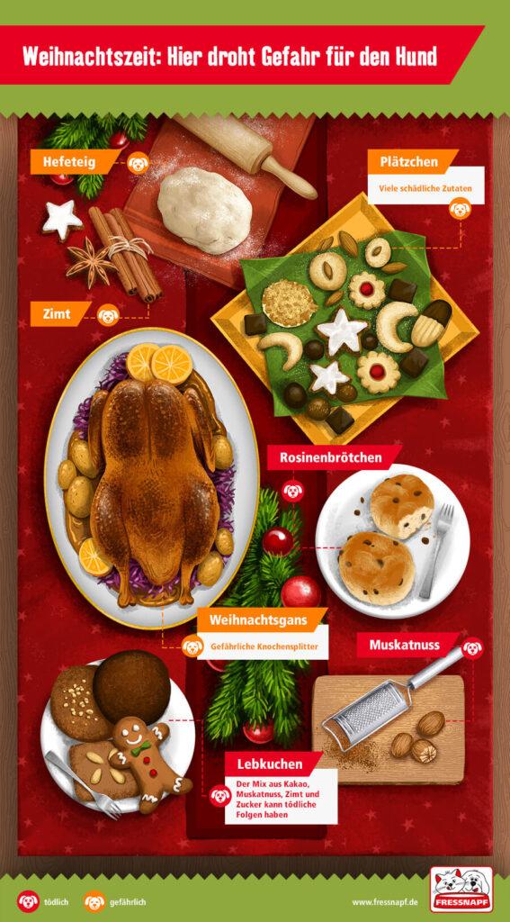 Infografik von fressnapf zu den Gefahren der weihnachtlichen Leckereien.